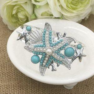 Blue Starfish Pearl Big Silver Hinged Bracelet